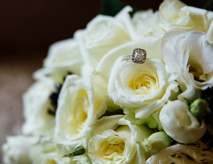 Bridal bouquet with engagement ring