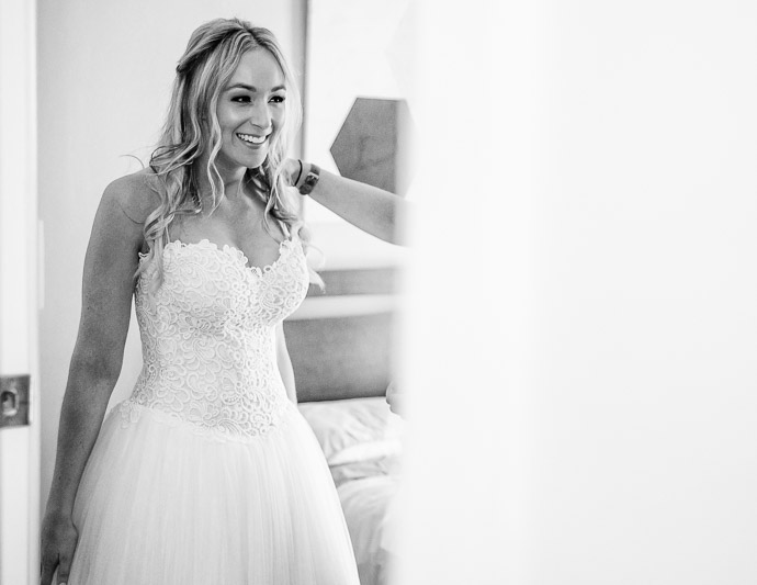 Beautiful bride Kate preparing at home