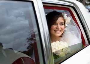 Bride arriving in bridal car