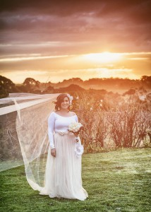 Bride with sunset behind her at Jones Road Winery, Mornington Peninsula