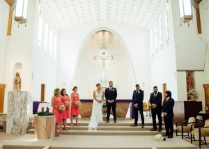 Bridal party in church
