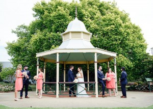 Bridal party under a gazebo