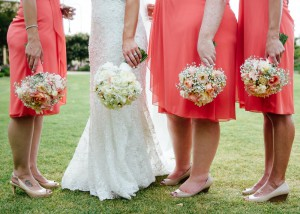 Bride and bridesmaids and flowers