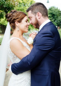 Bride and groom in cuddly pose
