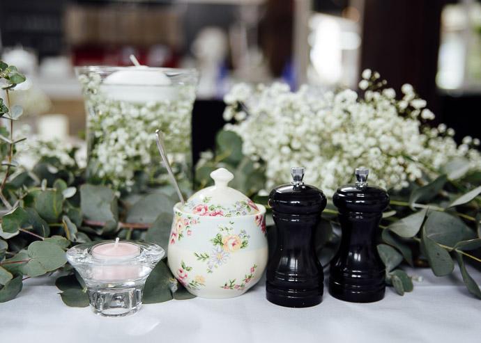 Details at wedding reception, sugar pot, salt and pepper shakers