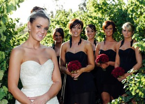 Bride and bridesmaids Immerse winery wedding