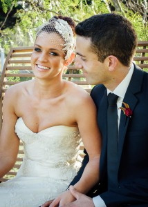 Bride, groom on swing at Immerse winery wedding