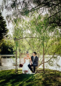 Bride and gorom on swing at Immerse winery wedding