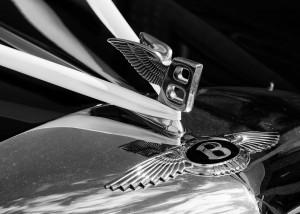 Bentley badge and white wedding ribbon